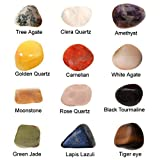 #5: Reiki Crystal Products 12 Set Of Green Jade ,Golden Quartz,Black Tourmaline Crystal Tumble Stone