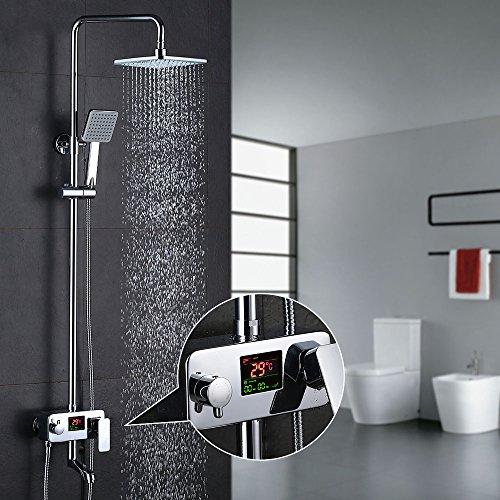 duschsystem regendusche Homelody 3-Wege Duschsystem LCD Temperatur-Anzeige Duscharmatur mit Rainshower Regendusche Handbrause Duschkopf Dusche Armatur und Badewanne Duschset f. Bad