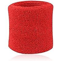 westeng Professional–Muñequeras Sweatband Athletic paño de algodón muñequera para deporte Yoga muchos colores choosed, rojo