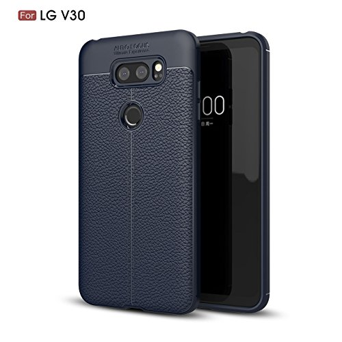 AddGuan LG V30/LG V30S/LG V30+ Hülle,Ultradünner Stoßfest Silikon Case[TPU Capsule Luftpolster Technologie]and[Gehärtetes Glas Schutzfolie]Handyhülle für LG V30/LG V30S/LG V30+ (Blau)