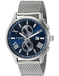 Akribos XXIV Hombres de acero inoxidable de cuarzo suizo reloj de vestido, color: silver-toned