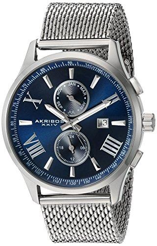 Akribos XXIV-Orologio da uomo al quarzo con Display analogico e cinturino in acciaio INOX color argento AK905SSBU