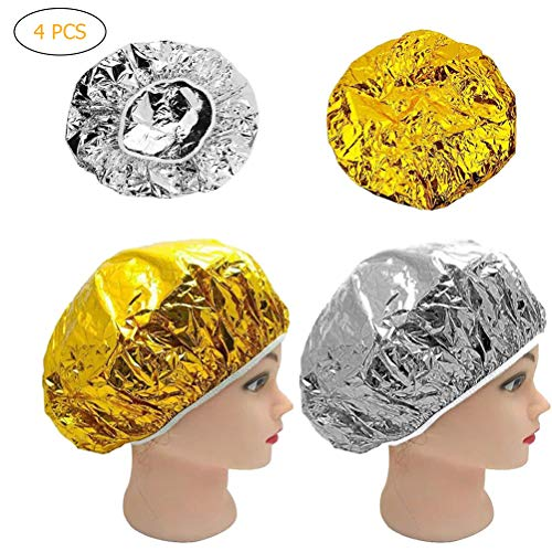 Koowaa 4pcs Casquillos de Papel de Aluminio, Casquillos Impermeables de la Ducha de la peluquería del SPA, Protector Disponible del Cuidado del Cabello de los Sombreros caseros