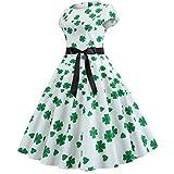 Culater Vestido Modern Fashion St. Patrick's Day Clover Evening Dress Print Party Ball Dress Bow Dress Women's Dress Verde 2XL