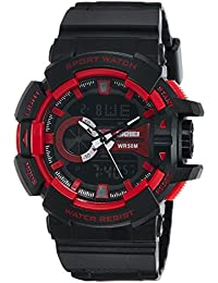 SKMEI Analog-Digital Black Dial Men's Watch - AD1117 (BLK- RED)