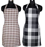 #4: Kuber Industries™ Cotton Waterproof Kitchen Apron With Front Pocket Set of 2 Pcs Assorted Colors (APC10)