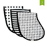 Ziggy Baby mussola pannolini, Burpy Bib set (3pezzi) nero + bianco croce, Xo & Stripe Patterns...