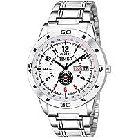 Timer Fashionable Wrist Watch White Dial Analog Silver Chain Chronograph Wrist Watch for Men & Boys (Silver & White)