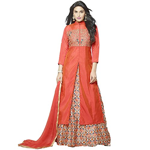 New-Latest-Orange-Banglori-Silk-Indo-Western