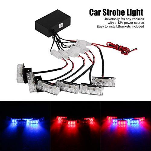 ALLOMN Luce Stroboscopica per Auto, Luce Stroboscopica di Emergenza per Auto 3 Barra Blu / 3 Barra Rossa, 3 Modalità Lampeggianti con Scatola di Controllo per Auto Della Poliz