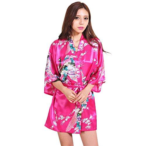Honeystore Damen Morgenmantel glatte Satin Nachtwäsche Bademantel mit Peacock und Blume Kimono Negligee Seidenrobe Schlafanzug Fuchsie XXL (Schwarze Badeanzug Talar)