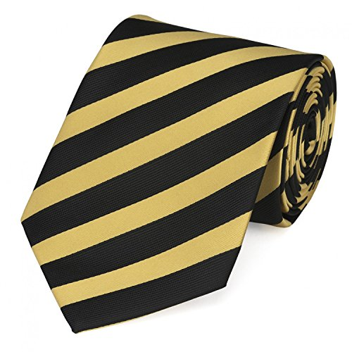 (Fabio Farini Elegante 8-cm Herren Krawatten, perfekt für Business, Hochzeit oder Abschlussball, Schwarz-Gold gestreift)