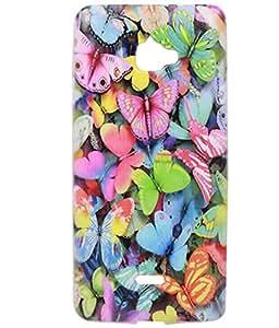 Multicolour Butterflies Exclusive Rubberised Back Case Cover for InFocus M350