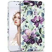 iPhone 7 Plus Case, Imikoko iPhone 8 Plus Print Case Floral Painting Retro Vintage Flower Pattern Hard PC High Impact Slim Protective Case for iPhone 7 Plus/ 8 Plus (5.5 inch)(Purple Flowers)