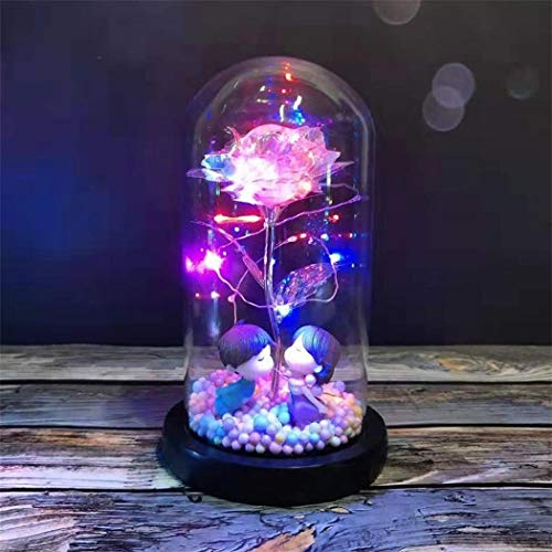 Idea Regalo natalizio Fiore Rosa LED a Cupola in Vetro