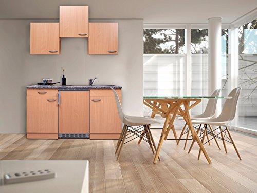 respekta KB150BB Single Küche Küchenzeile Küchenblock Buche 150 cm