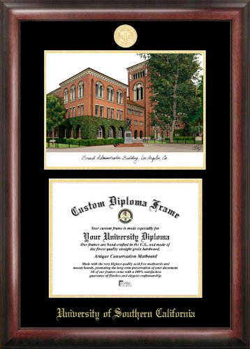 CAMPUS Bilder University of Southern California geprägt Diplom Rahmen mit Druckvorlage von Print, 21,6x 27,9cm Gold