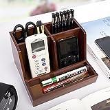Stiftablagen Holz-Desktop-Telefon-Rack Holz Regale Fernbedienung Aufbewahrungsbox Office-Desktop-Speichercouchtisch Desktop Manager