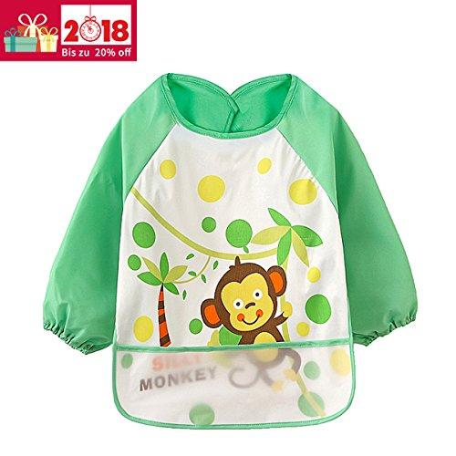 ÄrmelLätzchen Wasserdicht Baby lätzchen - Essen und Play Smock Schürze für Kleinkinder von 6 - 36 Monate (Grün Affe)