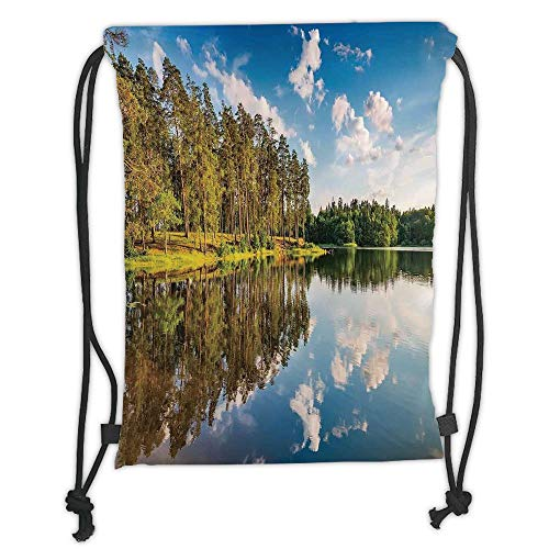 e Decor,Alive Forest with Clean Sky with Less Clouds Reflected to The Lake in a Summer Day Decorative, Soft Satin,5 Liter Capacity,Adjustable STRI ()