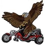 "Gran espalda parche bordado nitrógeno ""Trike y águila"" nuevo Gr, aprox 22 cm x 21 cm (08019 rojo) mivall Triker canionm"