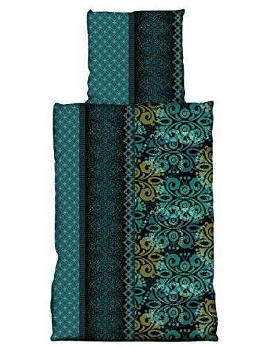 one-home 4 tlg Bettwäsche 135 x 200 cm Ornamente Orientalisch grün 2 Garnituren