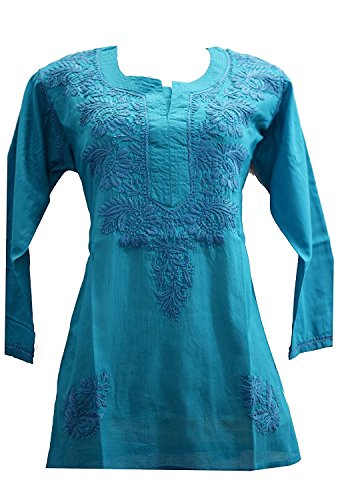 Lucknowi chikankaari sky blue kashmiri needlecraft 100% soft cotton short kurti with...