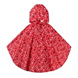 VORCOOL Poncho rain jacket girls school backpack rain ponchos (M red)