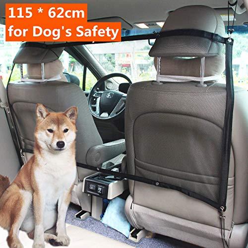 Mioke Auto Hundenetz,Auto Sicherheitsnetz für Hund Katze, Barriere Haustier Trennnetz Schutznetz Für Sichere Reise Autonetz 112 x 62cm (Vordersitz Barriere)