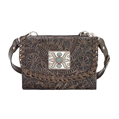 American Werst Leather Try Fold Wallet Cross Body Clutch Bag Purse Light Bundle - (Charcoal Brown)