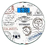 Pèse-personne numérique de précision Ronde Ancien Dimensions précises de poids de la balance de salle de bains en verre trempé ultra mince,Retro Post Timbres Postage Mail Paris Antique Artistique Desi...