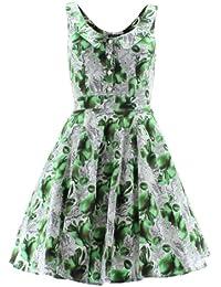 H&R London Robe PEAR FLORAL 5076 blanc-vert