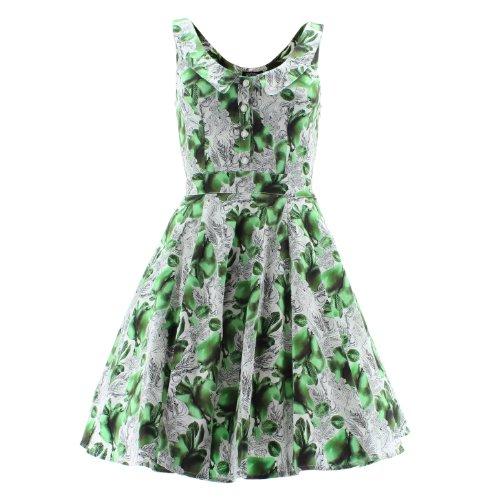 H&R London Kleid PEAR FLORAL 5076 white-green UK10 S White Floral-kleid