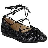 Stiefelparadies Spitze Damen Ballerinas Pastell Flats Riemchen Cut-Outs Schuhe 155270 Schwarz Glitzer Cabanas 40 Flandell