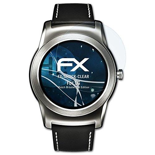 atFoliX Schutzfolie kompatibel mit LG Watch Urbane 2nd Edition Panzerfolie, ultraklare & stoßdämpfende FX Folie (3X)