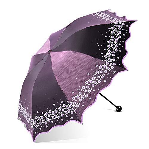 HAIMEI-WU Falten Regenschirm Frauen Regenschirm-Blumen-Muster Modisch 8 Klöppel UV-Cut Leicht (Color : Lila, Size : Kostenlos)