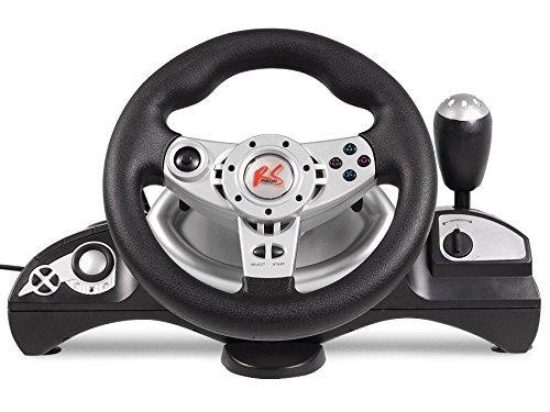 NanoRS RS600 - Manubrio Maclean 'PS3/PS2/PC(D-INPUT/X-INPUT)', 4 in 1, per volante da corsa, a gas, colore: nero