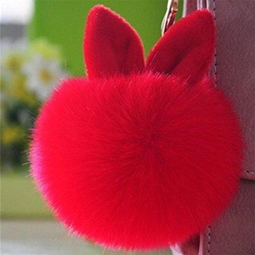 Fami Donne Pelliccia del coniglio sfera Portachiavi Bag Plush Car Key pendente dell'anello chiave auto RD