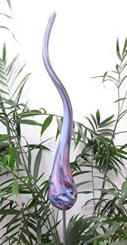Edler Gartenstecker Flamme Blue mit Stab Glas handgefertigt Gartenstele Rosenkugel