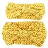 Fletion Mutter und Baby Stricken Wolle Haarband Haarreif Kleinkind Geknotete Hairband Eltern-Kind Stirnband, Gelb