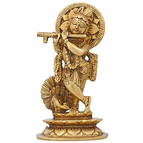 Statue Krishna Spielt Flöte Skulptur Figur Hindu Dekor Messing 14 cm (Religiöse Weihnachten Spielt)