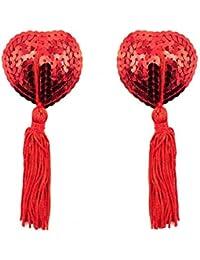 Creamlin Sequin Pasties für Womens Lingerie Brust Blütenblatt Pasty Kleber wiederverwendbar mit Quaste