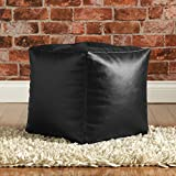 CUBE Bean Bag Faux Leather BLACK - Beanbag Footstool by Bean Bag Bazaar®