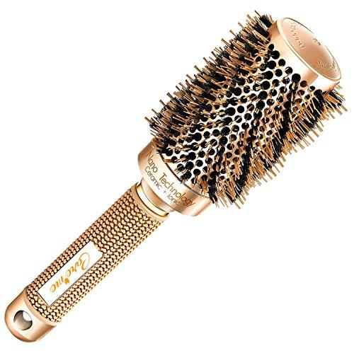 La migliore spazzola per capelli rotonda asciugante con setole naturali in cinghiale per asciugare capelli (4,5cm)-strumento di qualità da salone per hair styling per asciugatura sana, setosa, liscia