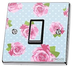 aufkleber f r lichtschalter vinyl blumenmuster im shabby chic design rosa blau. Black Bedroom Furniture Sets. Home Design Ideas