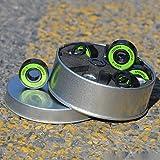 8 Piezas Rodamientos ABEC-9/11 Rodamientos de skateboard Rodamiento de rodillos longboard 608 2RS Rodamientos con espaciadores y arandelas (Verde)
