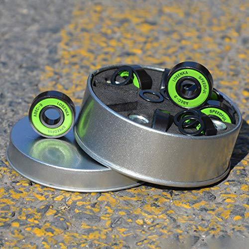 8 pezzi Cuscinetti ABEC-9/11 Cuscinetti per skateboard Cuscinetti per pattini a rotelle Longboard 608 Cuscinetti 2RS con distanziali e rondelle (Verde)