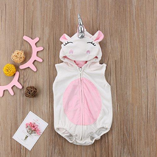 (Einhorn Neue Kleinkind kind Neugeborenes Einhorn Baby Mädchen Fleece Strampler Overall Jumper Sleeveless Weste Outfits Cartoon Kostüm)