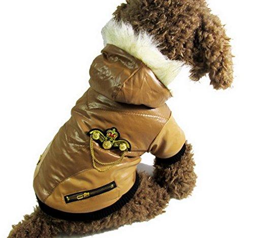 ranphy Kleiner Hund Katze PU Leder Jacke Bomber Winter Hundemantel Fleece gefüttert Patch Warm Apparel Chihuahua Hoodies (Pudel-patch)