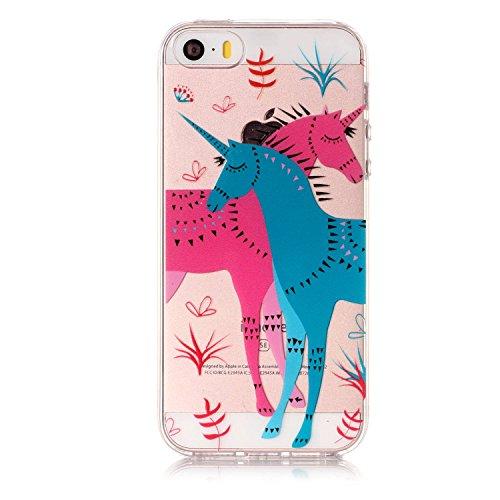 iPhone 5S Hülle, Voguecase Silikon Schutzhülle / Case / Cover / Hülle / TPU Gel Skin für Apple iPhone 5 5G 5S SE(Rose Traumfänger) + Gratis Universal Eingabestift Einhorn 10